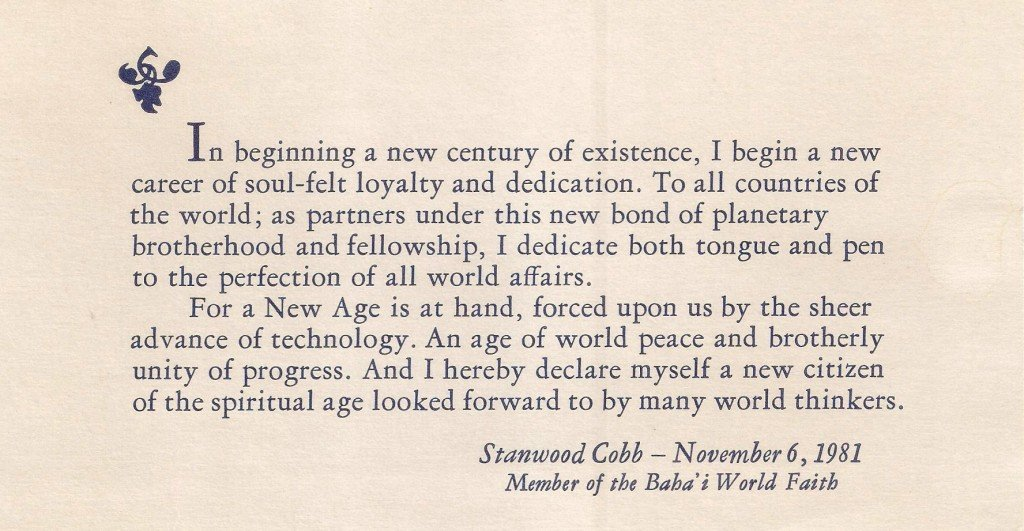 Dr. Stanwood Cobb, his 100 Year Birthday Statement